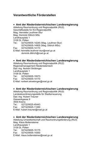 Verantwortliche Förderstellen - Raumordnung-noe.at