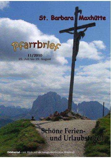 25. Juli bis 29. August - Pfarrei St. Barbara Maxhütte-Haidhof