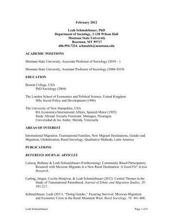 Schmalzbauer CV - Department of Sociology & Anthropology ...