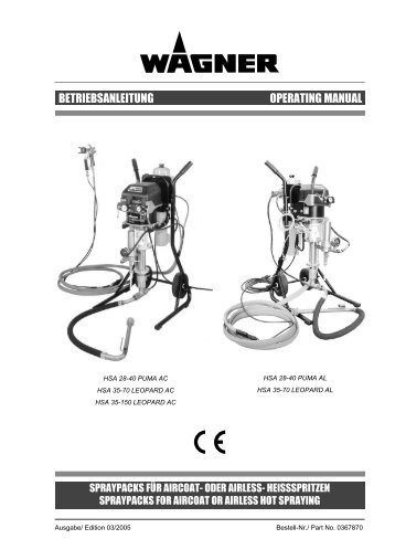 BETRIEBSANLEITUNG OPERATING MANUAL - Wagner