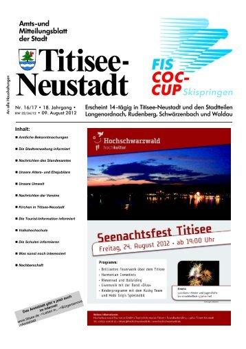 Amtsblatt Nr. 16/17 vom 09.08.2012 - Titisee-Neustadt