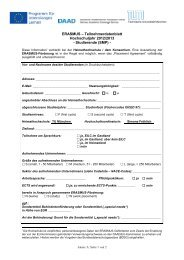 Teilnehmerdatenblatt - Erasmus Studierendenmobilität Praktikum ...