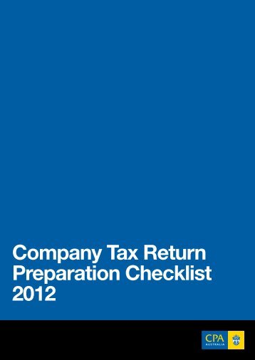 Company Tax Return Preparation Checklist 2012 - CPA Australia