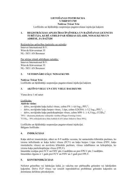 LIETOŠANAS INSTRUKCIJA V/MRP/07/1709 Nobivac Tricat Trio