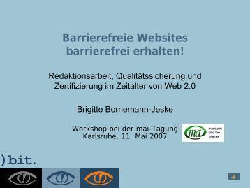 Barrierefreie Websites barrierefrei erhalten! - Mai-Tagung