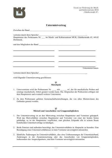 Download Muk Untermietvertrag Proberäume Musterpdf 52 Kb