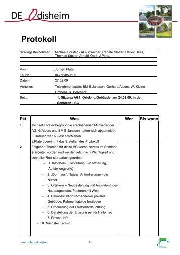 1. Sitzung AG1, Ortsbild/Gebäude, am 24.02.09, in der Senioren - BG