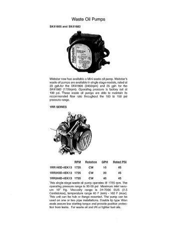 Waste Oil Pumps - Webster Fuel Pumps & Valves