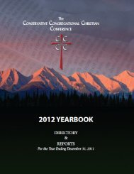 2012 yearbook - The Conservative Congregational Christian ...