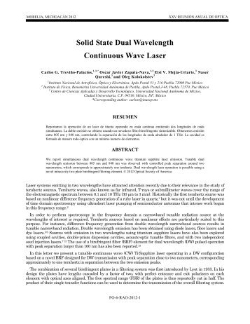 Solid State Dual Wavelength Continuous Wave Laser - Centro de ...