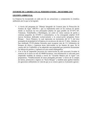 Informe de la Gestión Ambiental 2010 - Etapa