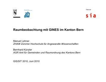 Raumbeobachtung mit GINES im Kanton Bern - Congrex Schweiz