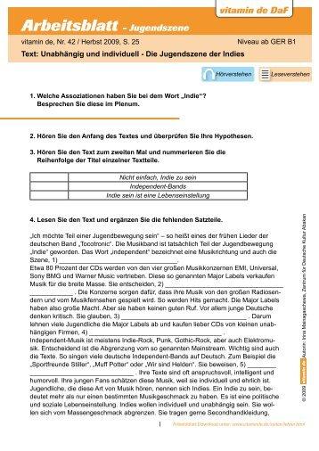 Arbeitsblatt - Landeskunde - Deutsch lernen mit vitamin de