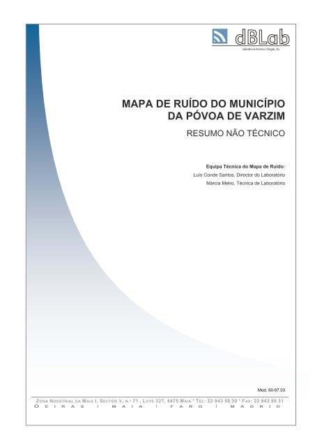 Mapa De Ruido Do Municipio Da Povoa De Varzim