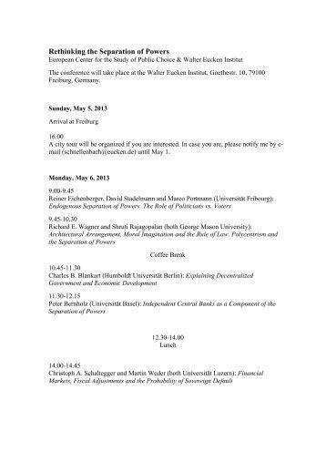 Rethinking the Separation of Powers - Walter Eucken Institut