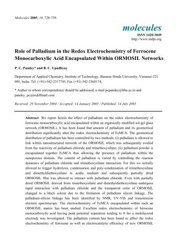 Role of Palladium in the Redox Electrochemistry of Ferrocene ...
