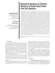 Numerical Analysis of Thermal Behavior of Small Solid Oxide Fuel ...