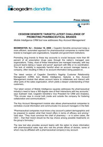 Cegedim Dendrite targets latest challenge of promoting ...