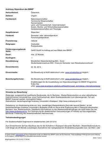Andrássy Stipendium des BMWF Herkunftsland: Österreich Zielland ...