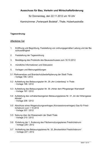Protokoll vom 22.11.2012 - Thale