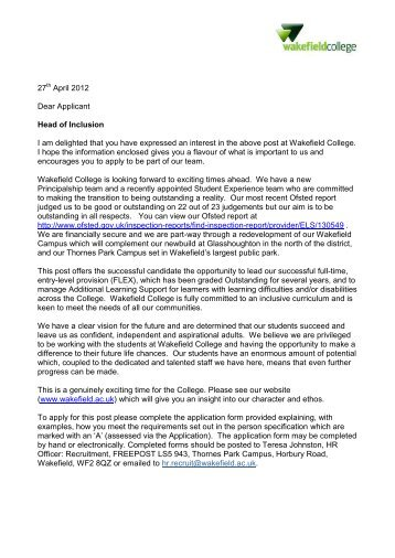 27 April 2012 Dear Applicant Head of Inclusion I am ... - Eteach