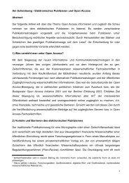 Am Scheideweg - Elektronisches Publizieren und Open ... - E-LIS