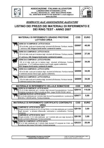 listino dei prezzi dei materiali di riferimento e dei ring test - anno 2007