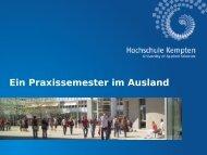 Ein Praxissemester im Ausland - Hochschule Kempten