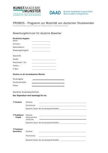 Formular Bewerbung - Kunstakademie Münster