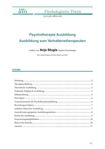 Psychotherapie Ausbildung Ausbildung zum ... - Psy-Adhoc