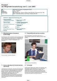 Protokoll der Mitgliederversammlung vom 2. Juni 2003 - Swiss NLP