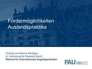 Födermöglichkeiten Auslandspraktika - Friedrich-Alexander ...