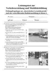 Klasse 5 oder 6 - Verkehrserziehung und Mobilitätsbildung in NRW