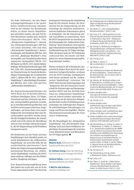 Berufskrankheiten – eine Standortbestimmung - DGUV Forum