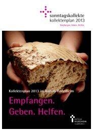 Kollektenplan 2013 - Fundraisingbüro Bistum Hildesheim