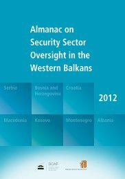 almanac on security sector oversight in the Western Balkans