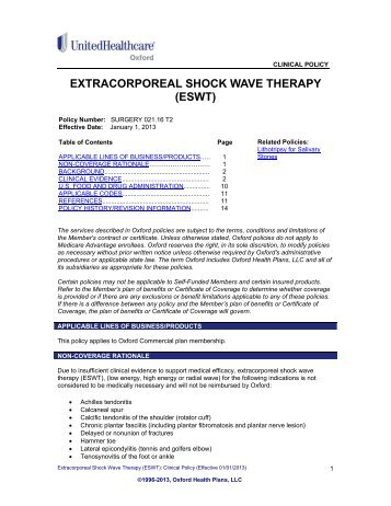 Extracorporeal Shock Wave Therapy (ESWT) - Oxford Health Plans