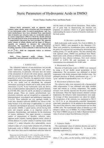 Steric Parameters of Hydroxamic Acids in DMSO - ijbbb