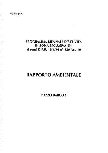 Rapporto ambientale pozzo BARCO 1 - Unmig