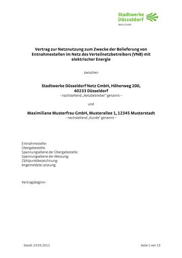 Muster Rahmenvertrag Für Die Belieferung Von Kunden Des