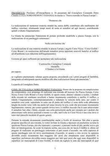 Interpellanze ed Interrogazioni - Comune di Cuneo