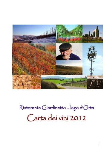 Carta dei vini 2012 - Hotel Ristorante Giardinetto