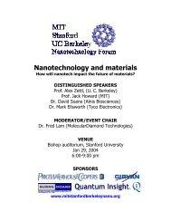 Nanotechnology and materials - MIT · Stanford · Berkeley ...