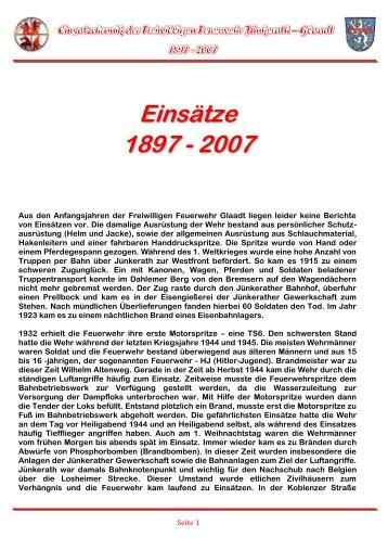 Einsätze 1897 - 2007 - Freiwillige Feuerwehr Jünkerath-Glaadt
