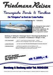 Hamburg  Hellesylt  Geiranger Fjord  Honningsvag-Nordkap ...