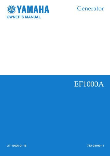 EF1000A Owner's Manual - Electric Generators