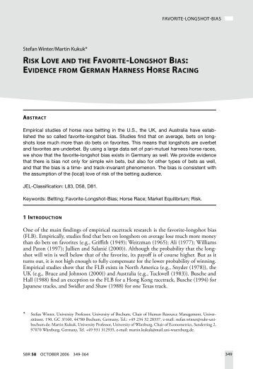 evidence from german harness horse racing - sbr, Schmalenbach ...