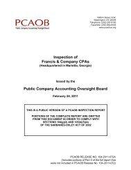 Francis & Company CPAs - Public Company Accounting Oversight ...