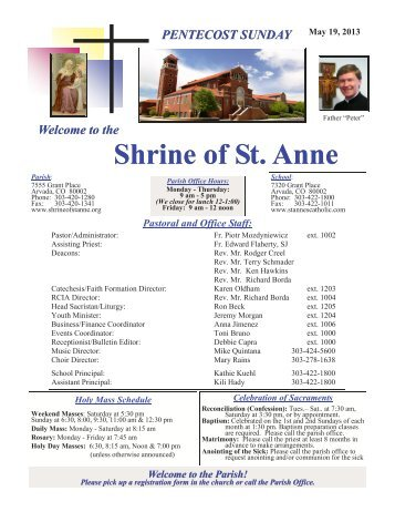 the Parish! - Shrine of St. Anne