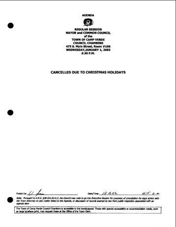 2003 Agendas and Minutes - Camp Verde